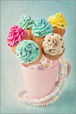Galleritryck  Colorful cupcake pops on blue background - Elena Schweitzer