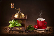 Galleritryck  Coffee mill with beans and green leaves and a cup of coffee - Elena Schweitzer