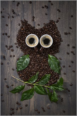 Galleritryck  Coffee owl from beans, leaves and cups - Elena Schweitzer