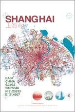 Självhäftande poster  Shanghai city map - campus graphics