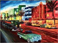 Galleritryck  Miami Ocean Drive with mint Cadillac - M. Bleichner
