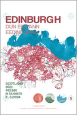 Galleritryck  Edinburgh city map - campus graphics
