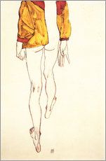 Galleritryck  Standing half-nude with a brown shirt - Egon Schiele