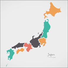 Självhäftande poster  Japan map modern abstract with round shapes - Ingo Menhard