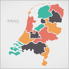 Självhäftande poster Netherlands map modern abstract with round shapes