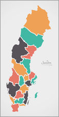 Galleritryck  Sweden map modern abstract with round shapes - Ingo Menhard