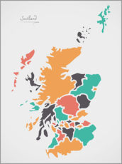 Galleritryck  Scotland map modern abstract with round shapes - Ingo Menhard