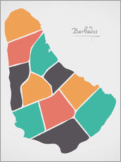Galleritryck  Barbados map modern abstract with round shapes - Ingo Menhard