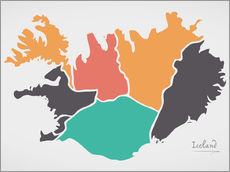 Självhäftande poster Iceland map modern abstract with round shapes