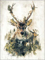 Självhäftande poster  Deer nature, surrealism - Barrett Biggers