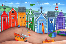 Galleritryck  Beach hut rainbow scene - Peter Adderley