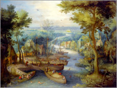 Premiumposter River landscape with bathing and boats