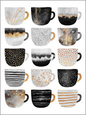 Galleritryck  Pretty coffee cups 3 in white - Elisabeth Fredriksson