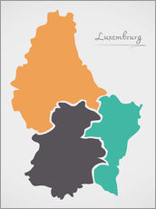 Självhäftande poster Luxembourg map modern abstract with round shapes