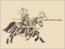 Galleritryck  Knight with armor and horse