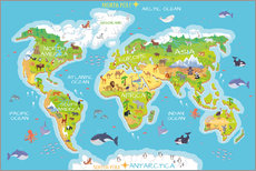 Galleritryck  World map with animals - Kidz Collection
