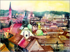 Galleritryck  Graz, view to the cathedral - Johann Pickl