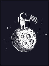 Självhäftande poster The first man on the moon