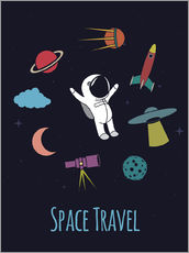 Självhäftande poster Space Travel Kid