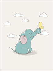 Galleritryck  Little elephant with butterfly - Kidz Collection