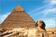 Galleritryck  Sphinx in front of the Great Pyramid - Miva Stock