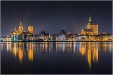 Galleritryck  Skyline of Stralsund at night - Kristian Goretzki