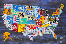Galleritryck  License plate map of the USA - Design Turnpike