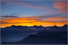 Galleritryck  Colorful sky at sunset over the Alps - Fabio Lamanna