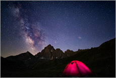 Galleritryck  Glowing camping tent under starry sky on the Alps - Fabio Lamanna