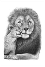 Galleritryck  Lion with lion cub - Valeriya Korenkova