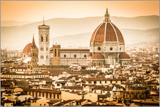 Självhäftande poster  Cityscape with Cathedral and Brunelleschi Dome, Florence - Cubo Images
