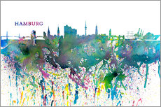Självhäftande poster Skyline HAMBURG Colorful Silhouette Splash