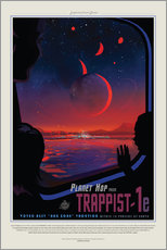Självhäftande poster  Retro Space Travel - Trappist1e
