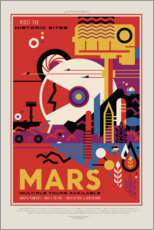 Självhäftande poster  Retro Space Travel - Mars