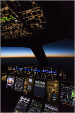 Galleritryck  Airbus A380 Cockpit at twilight - Ulrich Beinert