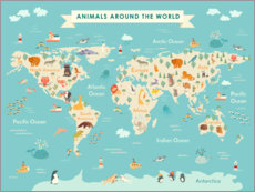 Galleritryck  World map with animals (English) - Kidz Collection