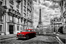 Självhäftande poster  Paris in black and white with red car - Art Couture