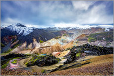 Canvastavla  Landmannalaugar Colorful mountains - Meinolf Lipka