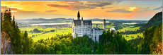 Akrylglastavla  Neuschwanstein in the sunset - Art Couture