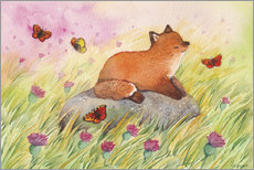 Akrylglastavla  Fox with butterflies - Michelle Beech