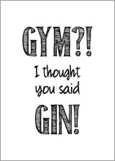 Trätavla  Gym or Gin - Typobox