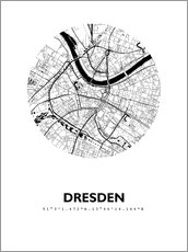 Premiumposter City map of Dresden