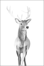 Akrylglastavla  Deer (black and white) - Goed Blauw