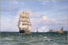 Canvastavla  A Danish barque in front of Kronborg Slot - Vilhelm Arnesen