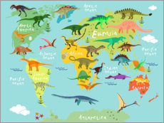 Aluminiumtavla  Dinosaur Worldmap - Kidz Collection