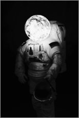 Premiumposter Astronaut with moon head