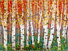 Premiumposter Red Sky Over Birch Trees