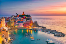 Premiumposter Vernazza in the sunset