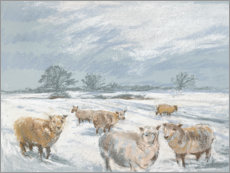Premiumposter Winter Sheep Landscape