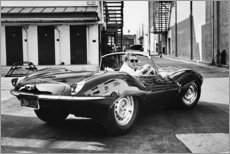 Akrylglastavla  Steve McQueen i Jaguar - Celebrity Collection